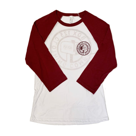 BOX 125 Clothing Company Baseball Tee - White/Maroon