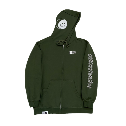 BOX OTF SMILEY ZIP-UP HOODIE - ARMY