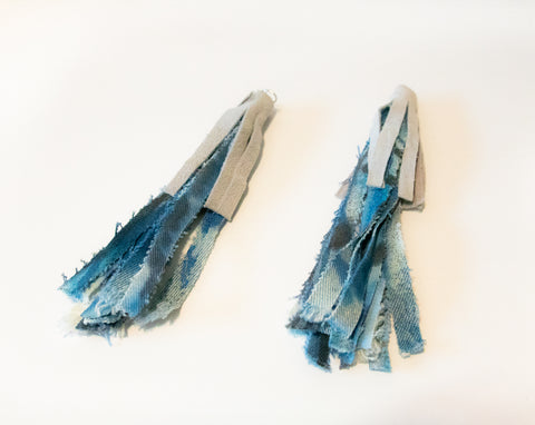Denim/Leather Tassel Earrings By Evolve Revolt Repeat Jewelry