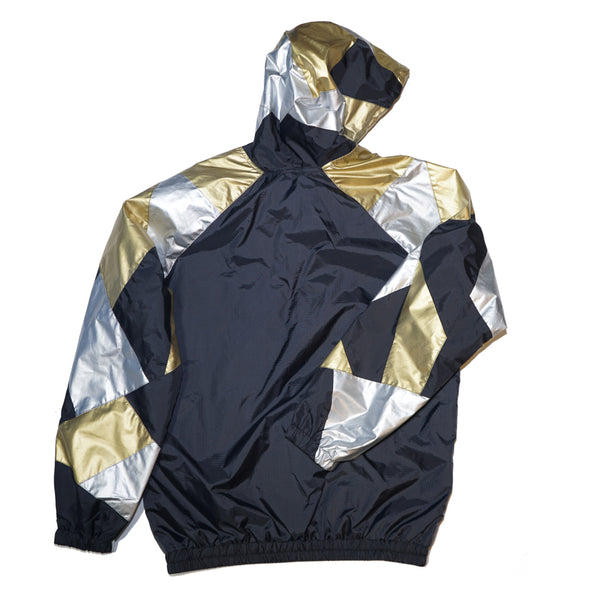 Gold Silver Patchwork Windbreaker