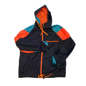 Orange Zipper Black Windbreaker