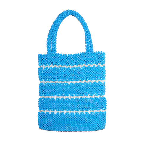 Blue/White Beaded Tote