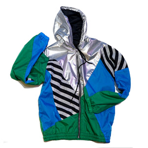 Silver Hood Green Blue Windbreaker