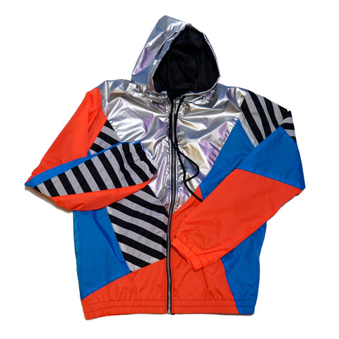 Silver Hood Orange Blue Windbreaker