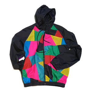 Black Hood Color Block Windbreaker