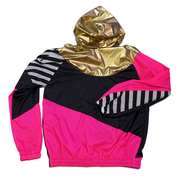 Gold Hood Pink Black Windbreaker