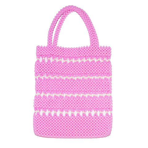 Pink/White Beaded Tote