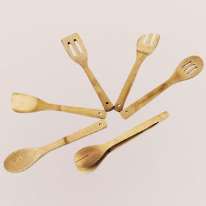 Bamboo Kitchen Utensils - 6 Pieces