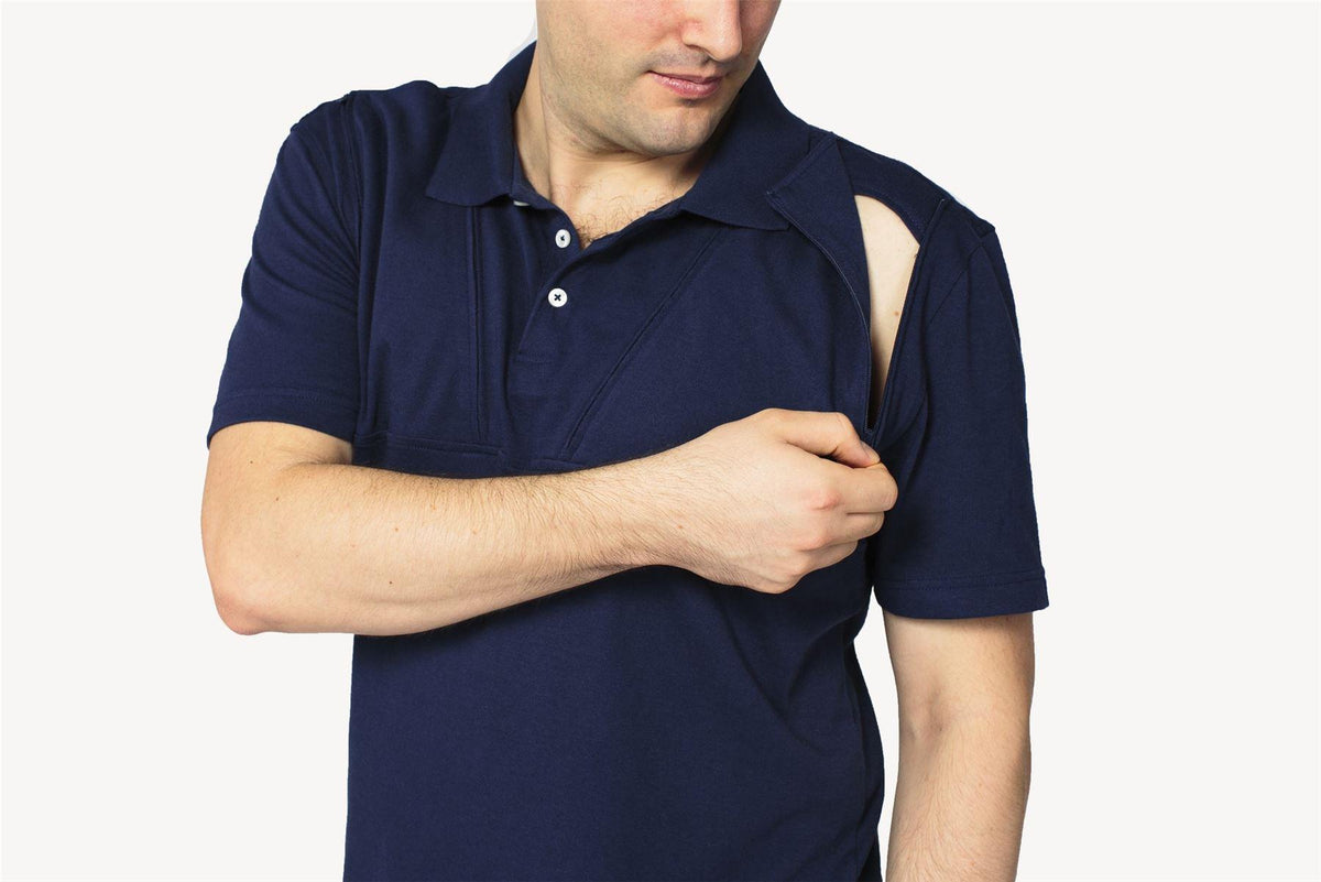 Care+Wear Mens Dual Chest Port Access Polo
