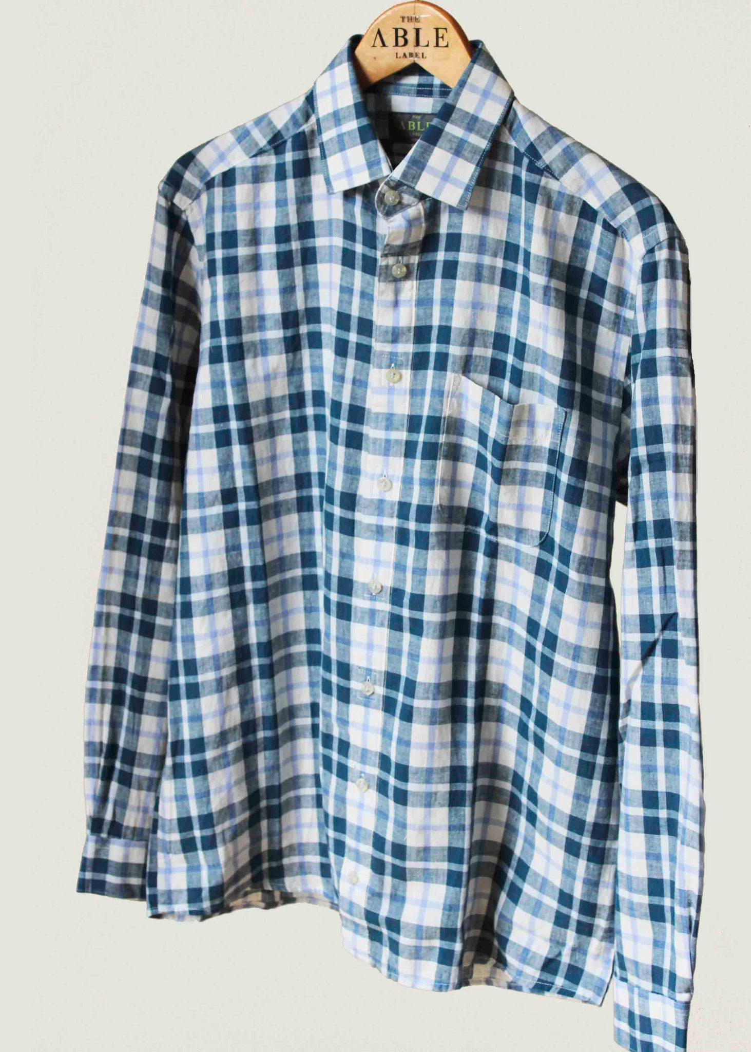 The Able Label Harry Casual Linen Check Velcro Shirt