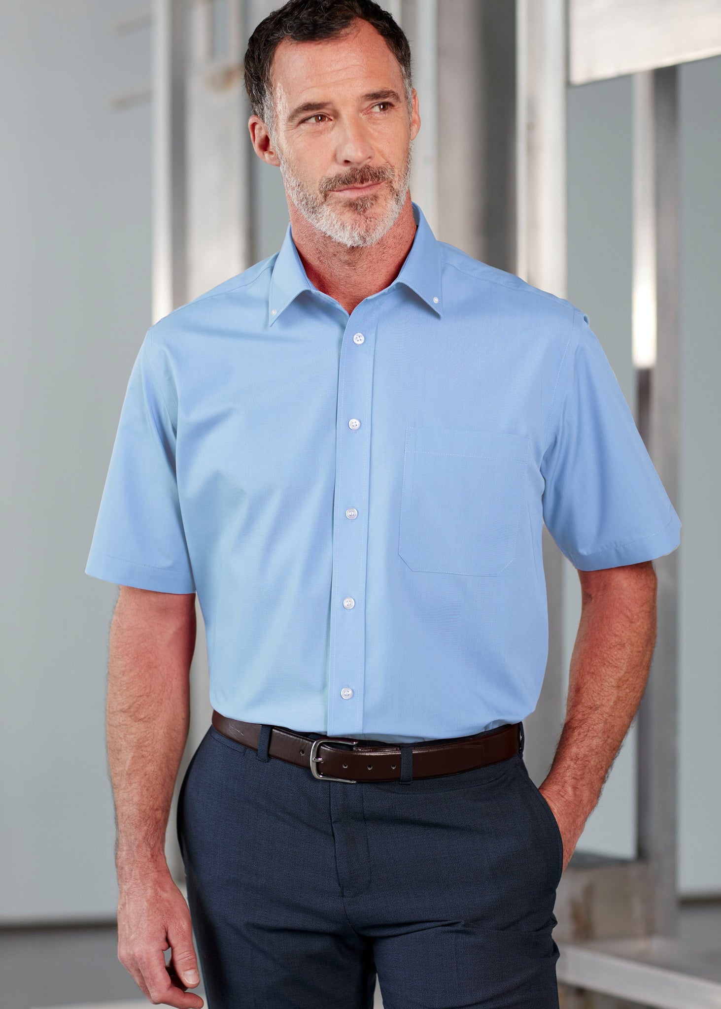 The Able Label Hugh Short Sleeve Classic Fit Oxford Non-Iron Velcro Shirt
