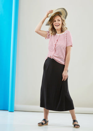 The Able Label Debbie Midi Jersey Wrap Velcro Skirt