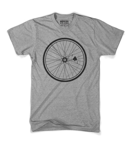 Bike wheel woodcut tee