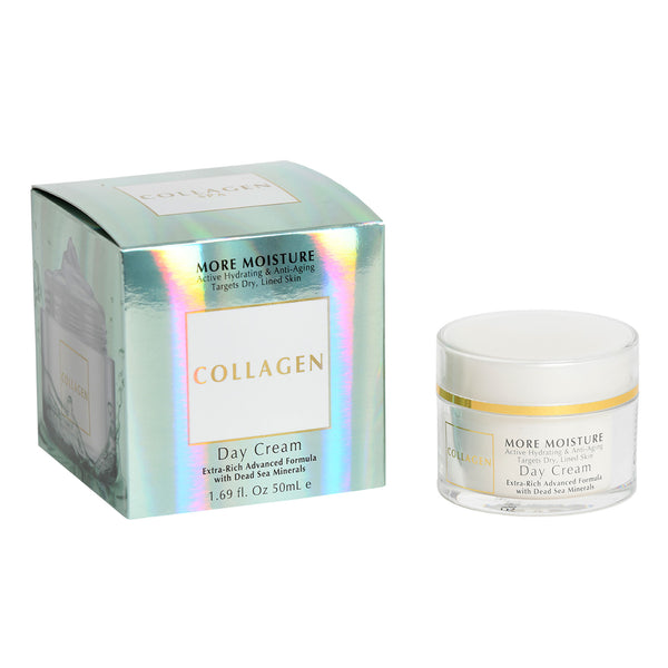 Collagen More Moisture Active Hydrating & Anti-Aging Targets Dry, Lined Skin Day Cream  Extra-Rich Advanced Formula  with Dead Sea Minerals