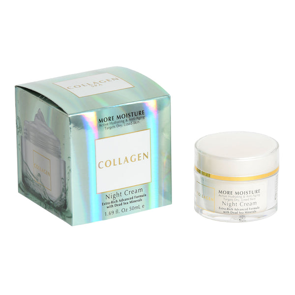 Collagen More Moisture Active Hydrating & Anti-Aging Targets Dry, Lined Skin Night Cream Extra-Rich Advanced Formula with Dead Sea Minerals