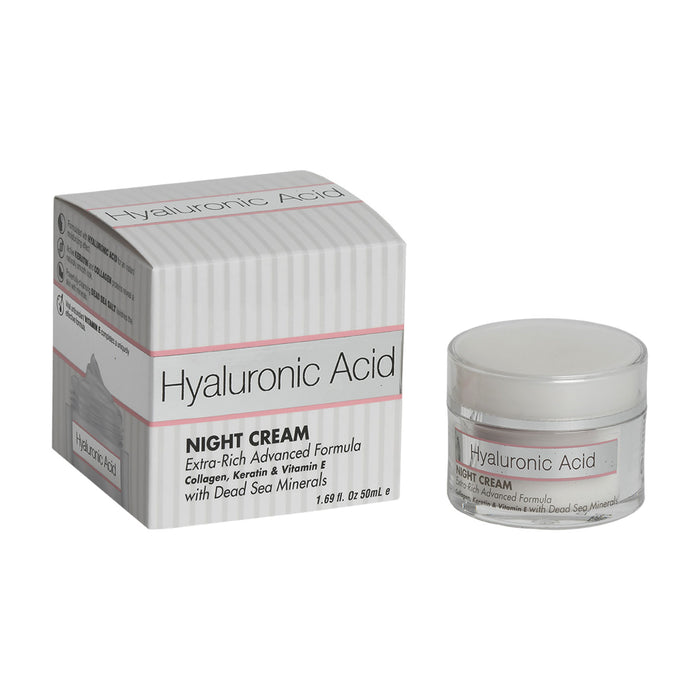 Hyaluronic Acid NIGHT CREAM  Extra-Rich Advanced Formula Collagen, Keratin & Vitamin E with Dead Sea Minerals