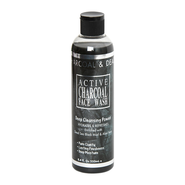 ACTIVE  CHARCOAL FACE WASH Deep Cleansing Power HYDRATES & REFRESHES Enriched with  Dead Sea Black Mud & Aloe Vera