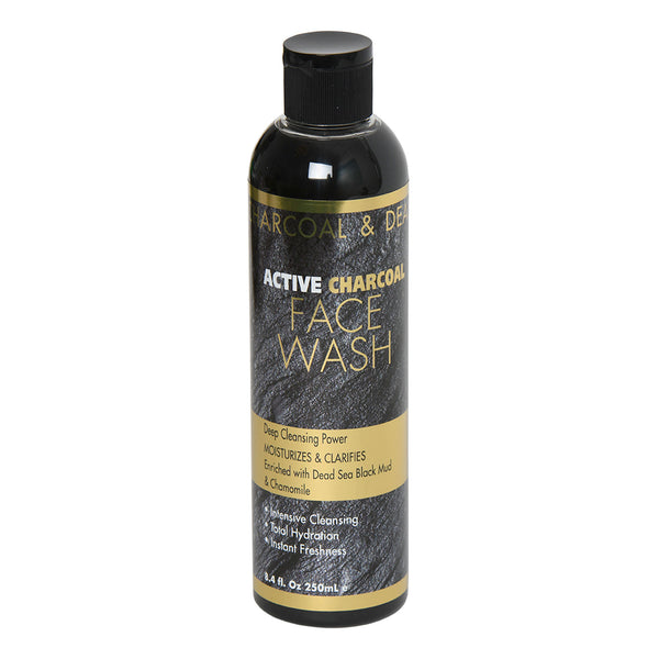 ACTIVE  CHARCOAL FACE WASH Deep Cleansing Power MOISTURIZES & CLARIFIES Enriched with Dead Sea Black Mud  & Chamomile
