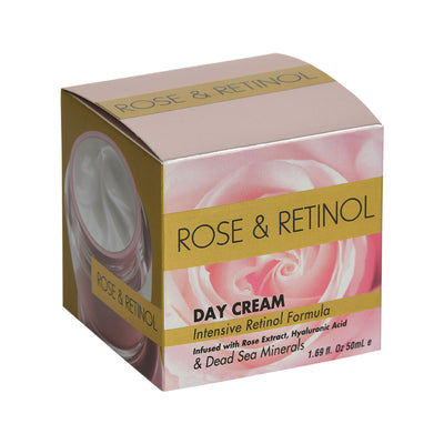 ROSE & RETINOL DAY CREAM  Intensive Retinol Formula Infused with Rose Extract, Hyaluronic Acid & Dead Sea Minerals