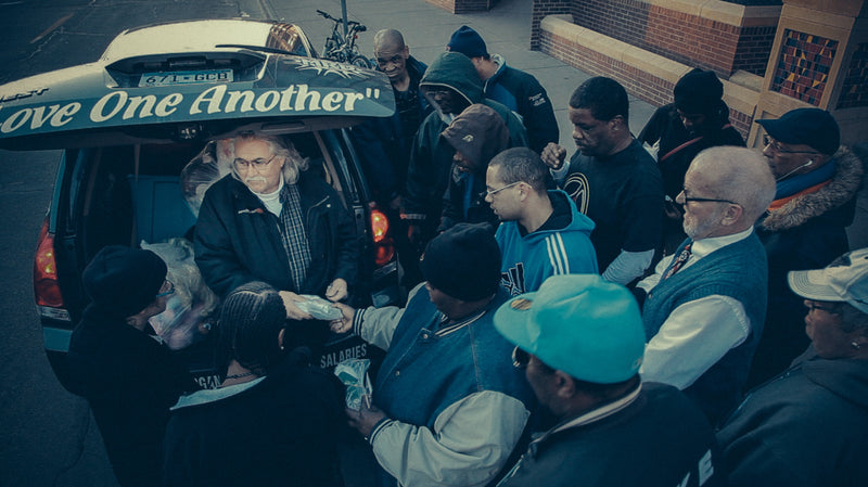 Allan Law in Minneapolis, handing out sandwiches to the hungry.