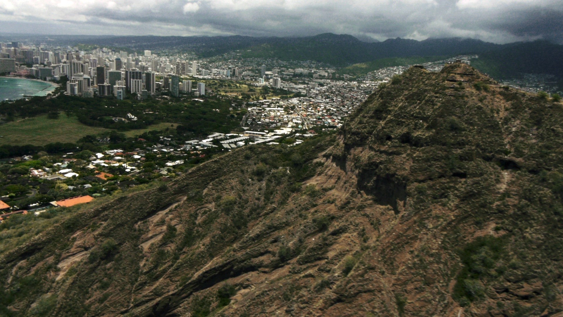 "Diamond Head, Hawaii. From documentary ""Railroading Paradise"""
