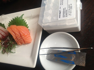 "Testing farmed salmon sashimi from documentary ""Salmon Confidential"""