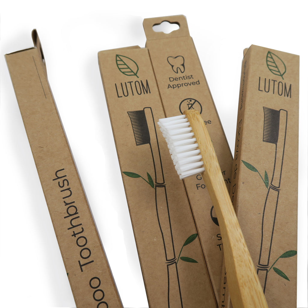 4 pack Bamboo Toothbrushes by LUTOM