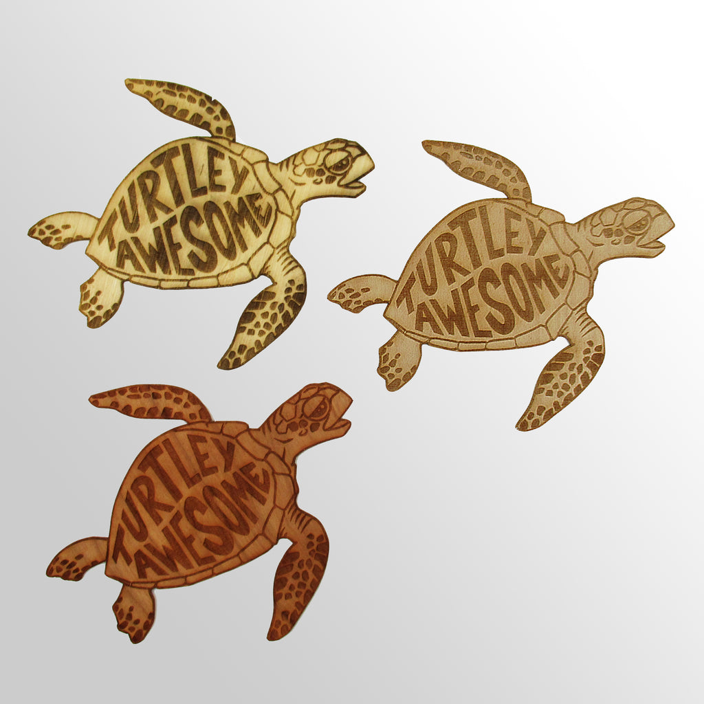 Turtley Awesome Wood Sticker by Plastic Habitat