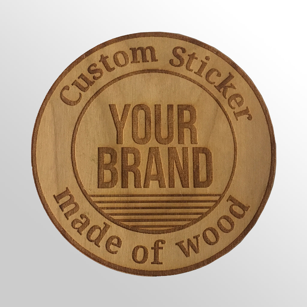 50 Custom Bamboo Wood Stickers - Your Design made into a Wood Sticker