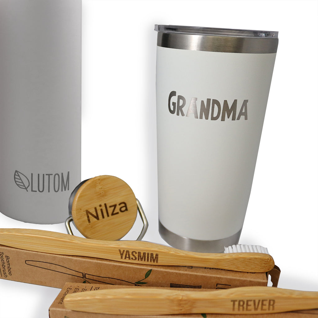 Laser Engraving. Personalize Your Eco Essentials!