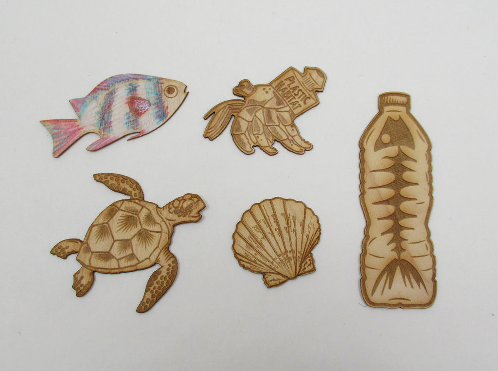 Mini wood Stickers 5 pack