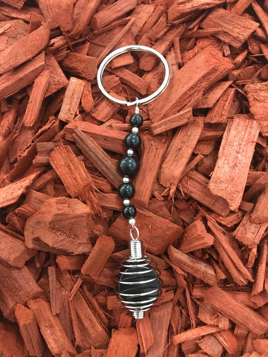 I Ching Coin Black Obsidian, Gemstone Keyring