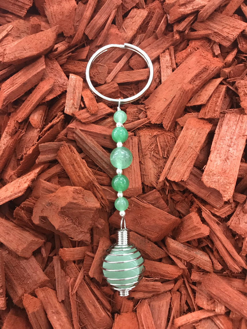 Green Agate, Gemstone in a cage Keyring