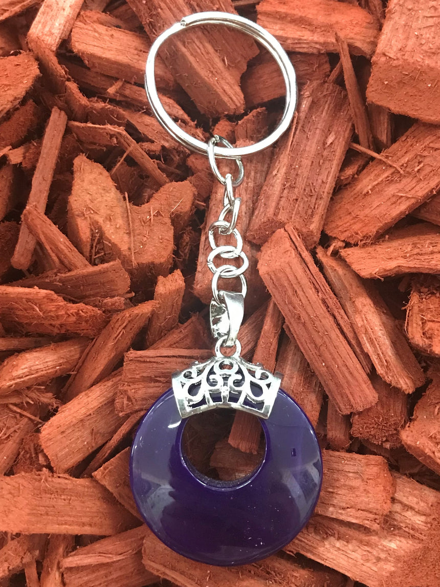 Purple Agate, Gemstone Keyring