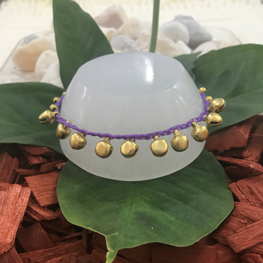 Gold Coloured Bells - Purple, Cotton, Anklet