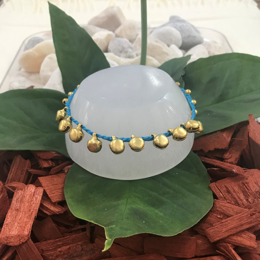 Gold Coloured Bells - Turquoise, Cotton, Anklet