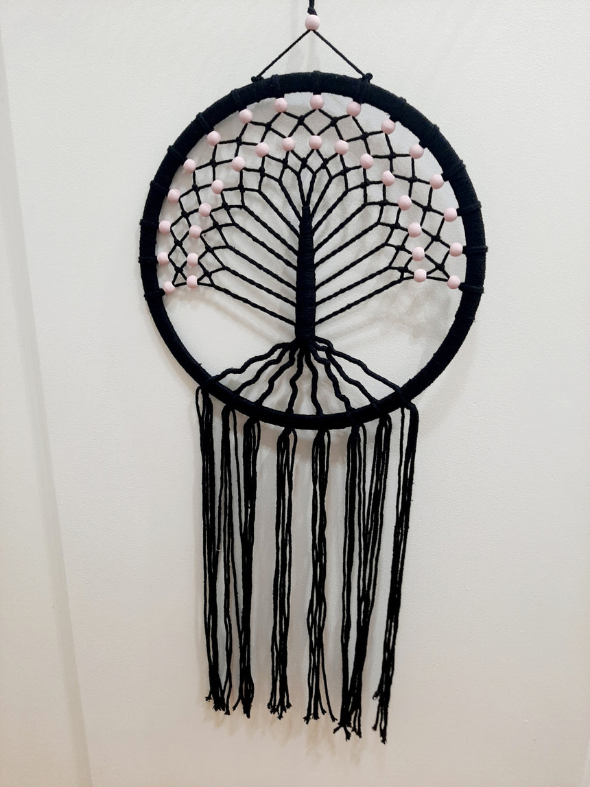 Tree of Life Dream Catcher black with pink beads