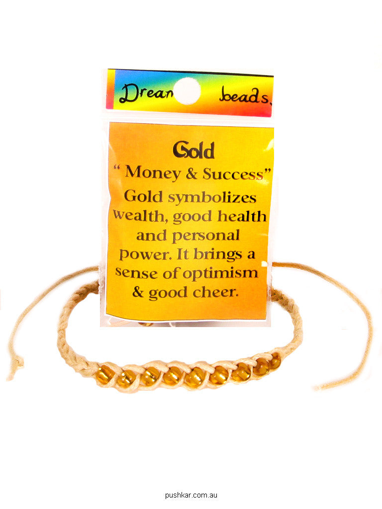 Dream Bead - Gold (Money), Hemp, Bracelet