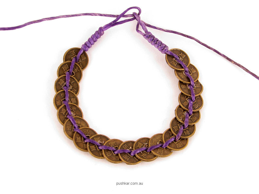 I Ching Coin - Purple, Cotton, Bracelet