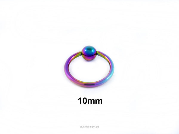 Surgical Steel Rainbow Colour (10mm), 16 Gauge, BCR