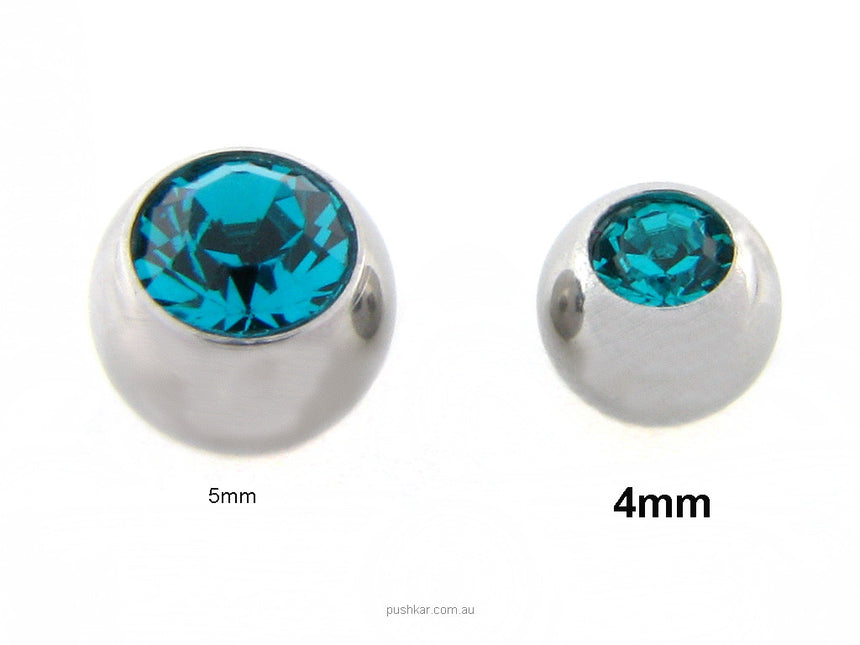 Turquoise (10mm) Standard, 14 Gauge - Single Jewel, Belly Bar
