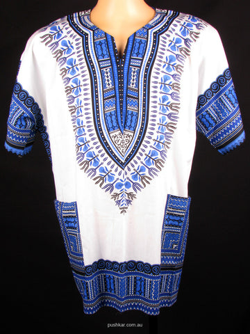 White/Blue, Cotton Dashiki, Shirt
