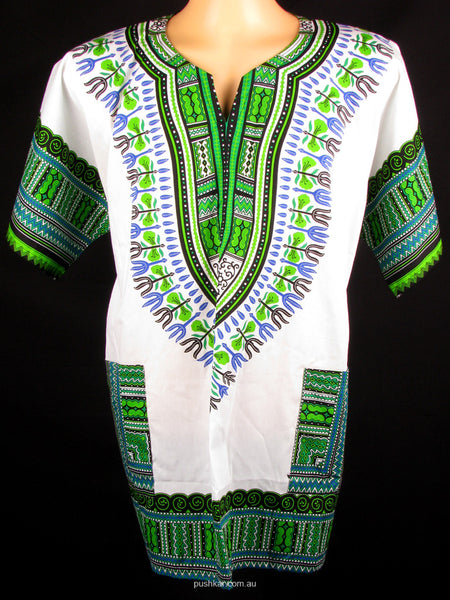 White/Green, Cotton Dashiki, Shirt