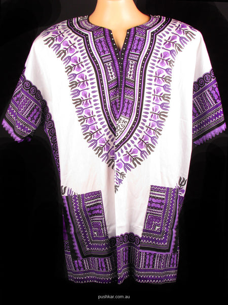 White/Purple, Cotton Dashiki, Shirt