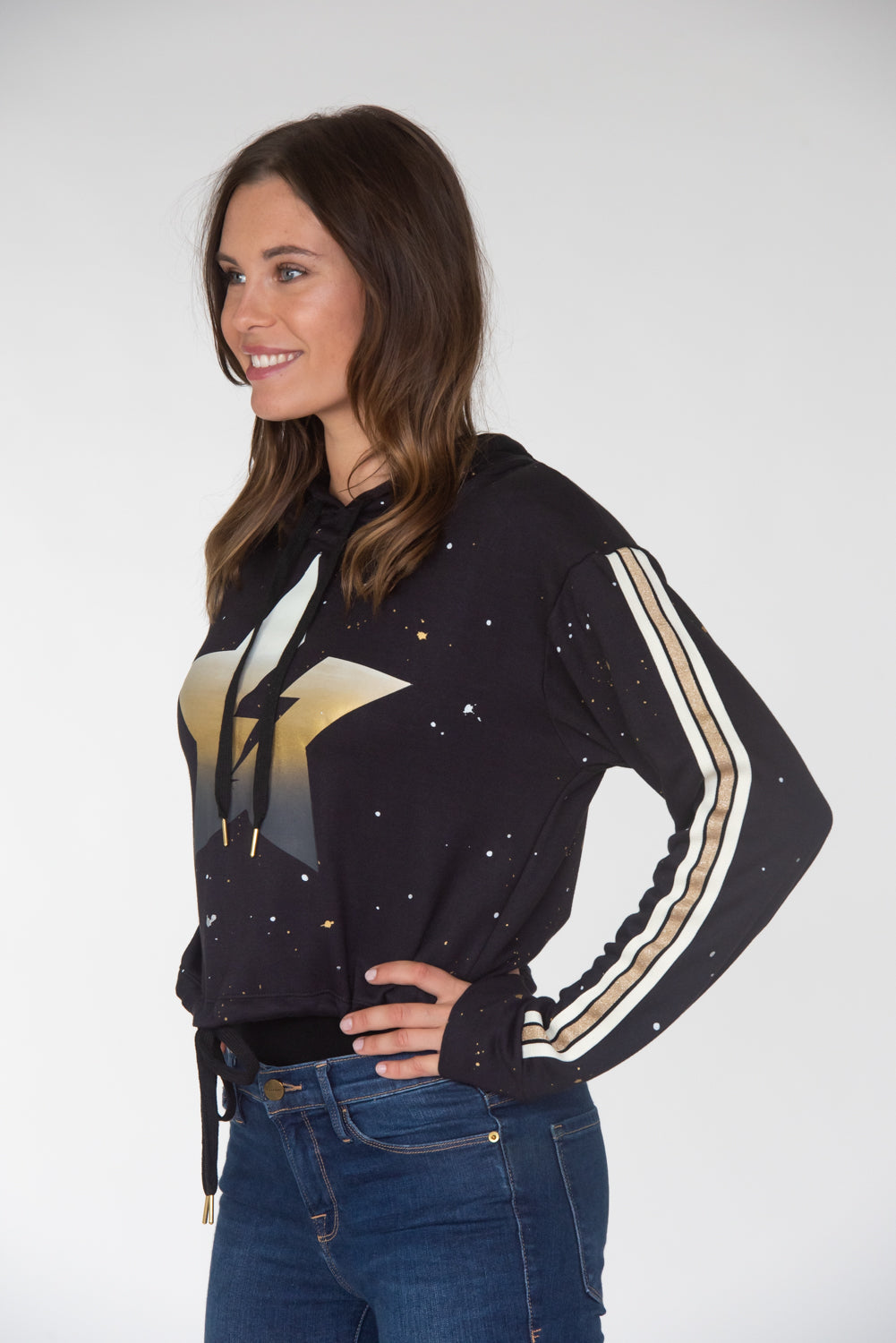 Cropped Lightning Star w/ Taping Hoodie