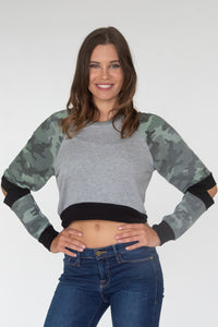 Cropped Camo Elbow Cutouts Sweatshirt