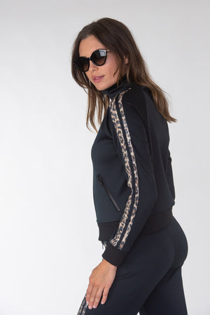 Leopard Sequins Taping Track Jacket