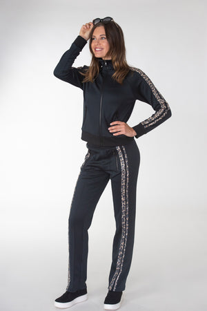 Leopard Sequins Taping Track Pants