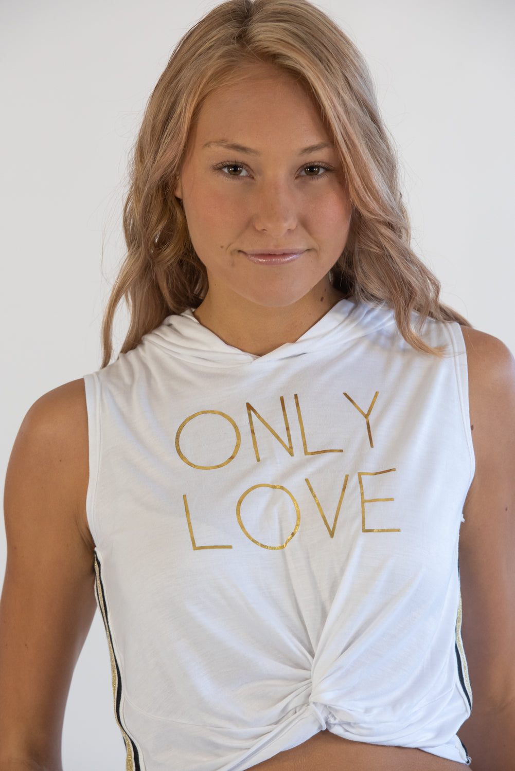 Only Love White Crop Knotted Sleeveless Hoodie