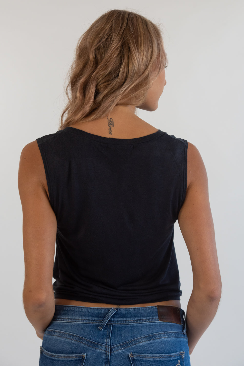 More Love Black Knotted V-neck Sleeveless Tee
